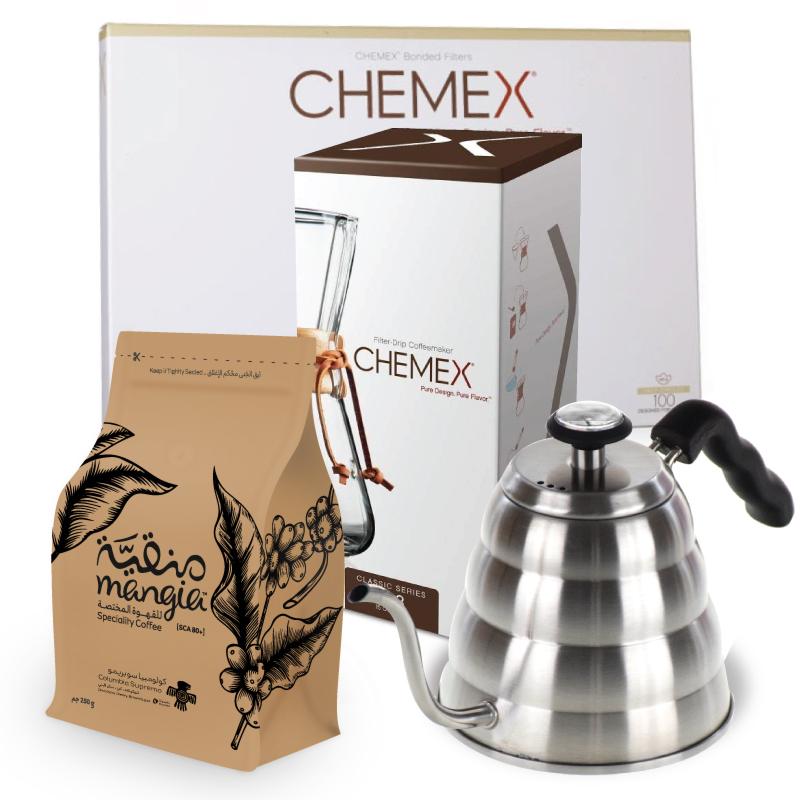 عرض الكيميكس 3 أكواب + ابريق ترشيح + 250جم قهوة